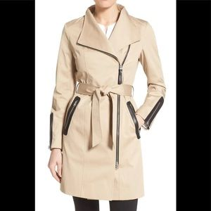 Mackage Leather Trim Trench Coat
